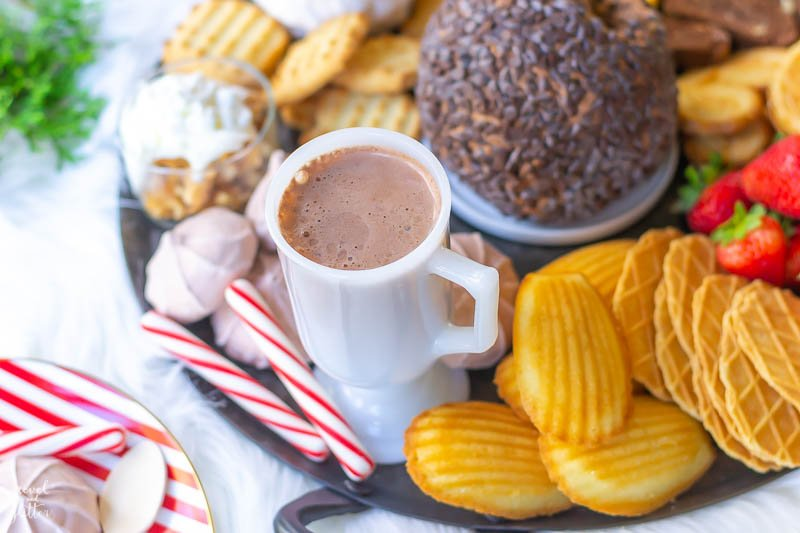 Holiday Cookie Board with Chocolate Brownie Cheesecake Ball; cocoa and cookies