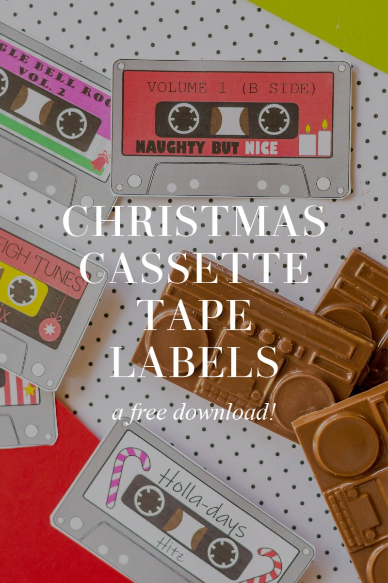Download my free Christmas Cassette Tape Labels for fun gift packaging!